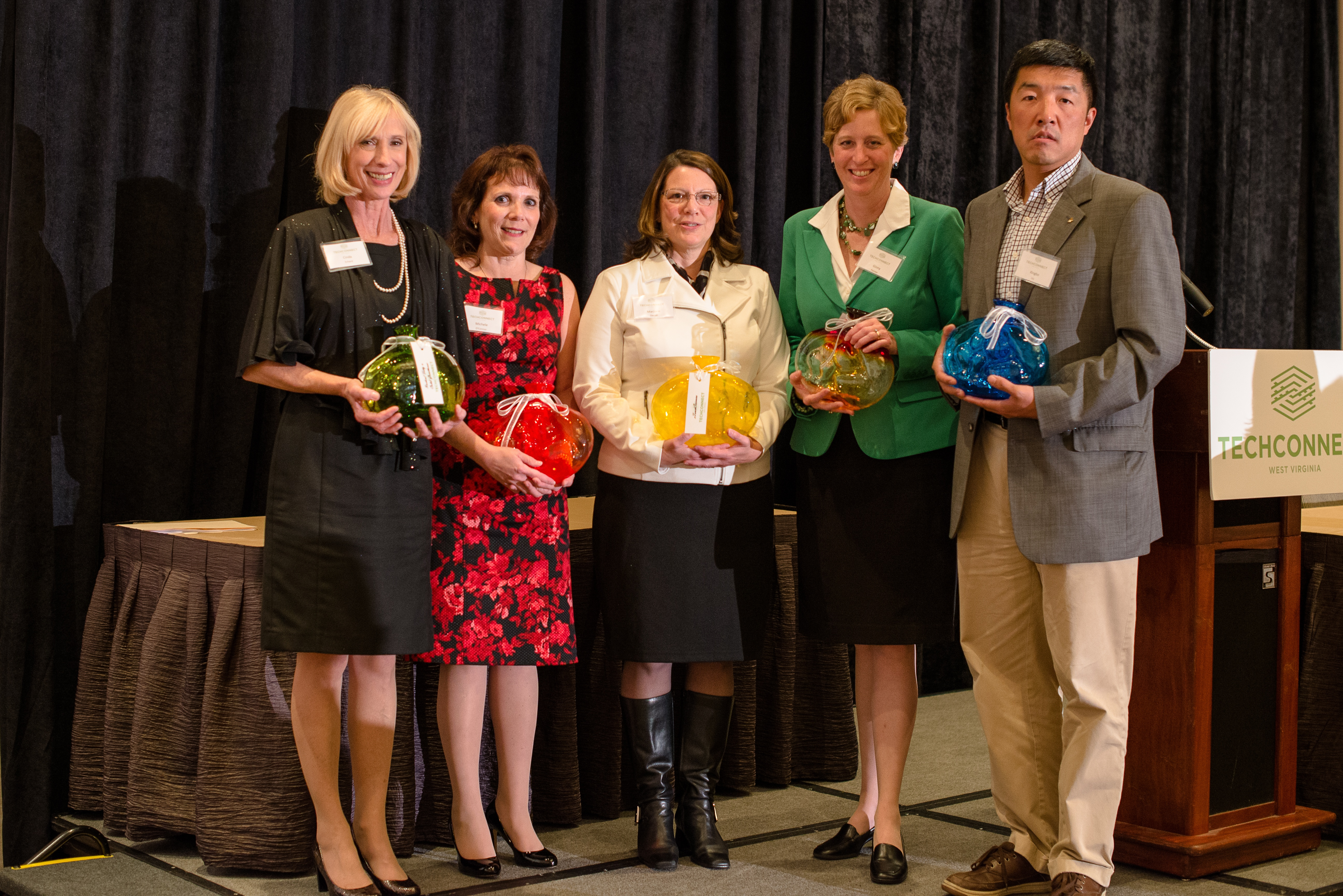 Cinda Echard of Glenville State College, representing the Student Innovators of the Year; Michele O'Conner, WVJIT, representing the  Investor Recognition Award; Dr. Marjorie Darrah, eTouchSciences, representing the StartUp Innovation of the Year; Ginny Painter, TechConnect Board Member, representing Dr. Stephanie Skolik, winner of the Outstanding Woman in Technology Award; and, Dr. Xingbo Liu, 2013 Innovator of the Year.