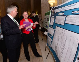 Marshall University President, Dr. Stephen Kopp, with a student researcher.