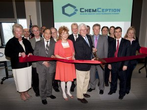 Various dignataries cut the ceremonial ribbon on the launch of ChemCeption.