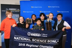 From left to right are Christina Maloney, coach; Lauren Paine, Frank Liu, Sachin Thaker, Aishwarya Bandaru, and Jacob Smothers.
