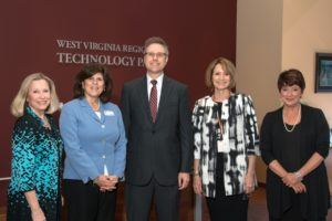 L-R: Dr. Anne Cavalier, Business Consultant; Ms. Cruz-Carnall, EDA Regional Director; Dr. Rusty Kruzelock, Director of the WVRTP; Anne Barth, executive director of TechConnect West Virginia; and Tracey Rowan, Economic Development Representative for the EDA in West Virginia.